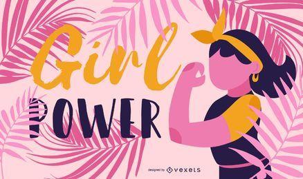 Menina, poder, ilustração
