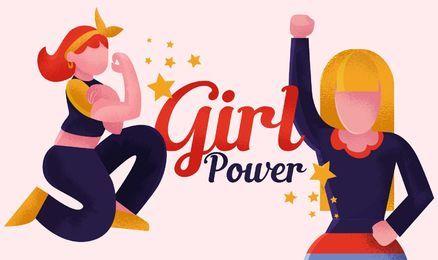 Girl power feminist illustration