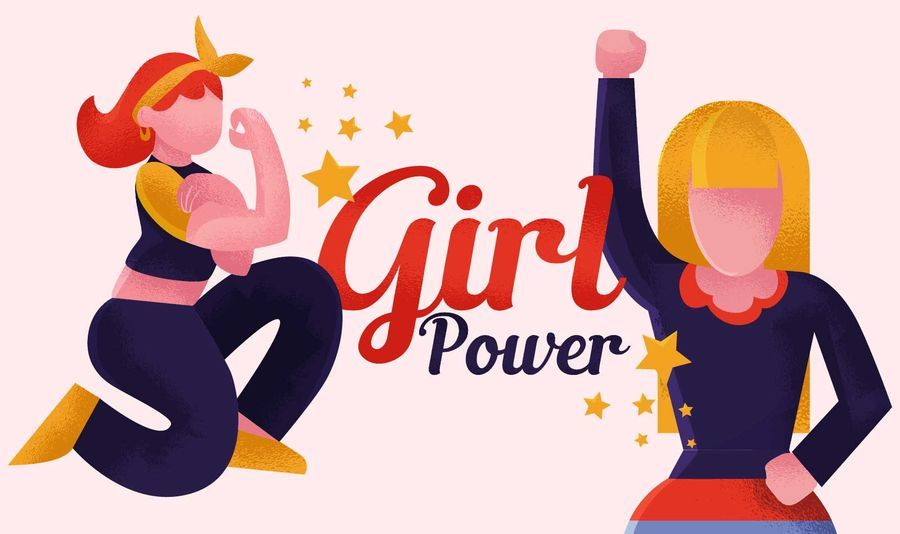 Girl power feminist illustration