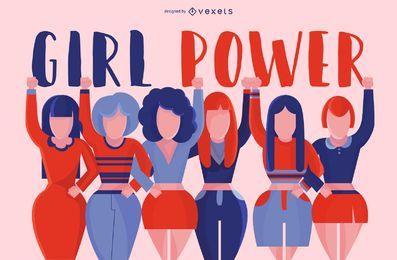 Design de grupo de poder de menina