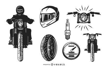 Conjunto de elementos de moto.