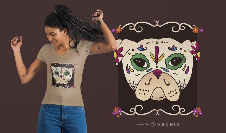Zuckerschädel-Mops-T-Shirt Design