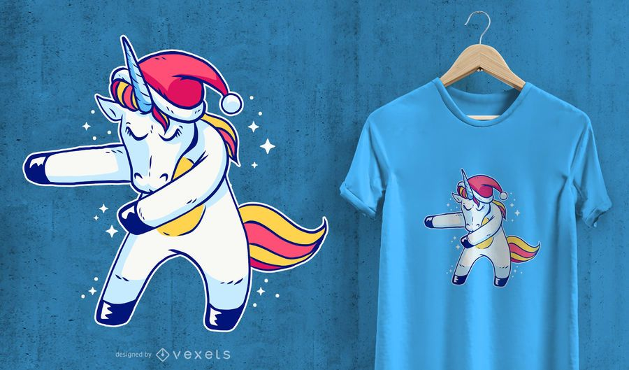 Christmas Unicorn Floss T-shirt Design