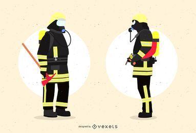 Bombeiros em Design Gráfico Uniforme
