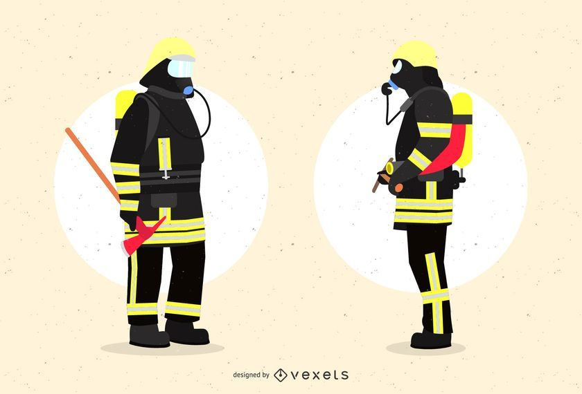 Firefighters in Uniform Graphic Design