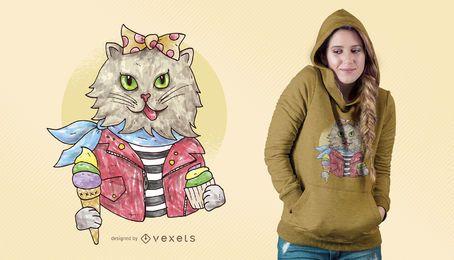 Projeto do t-shirt do gato Rockabilly da aguarela