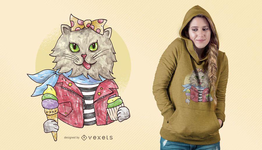 Watercolor Rockabilly Cat T-shirt Design