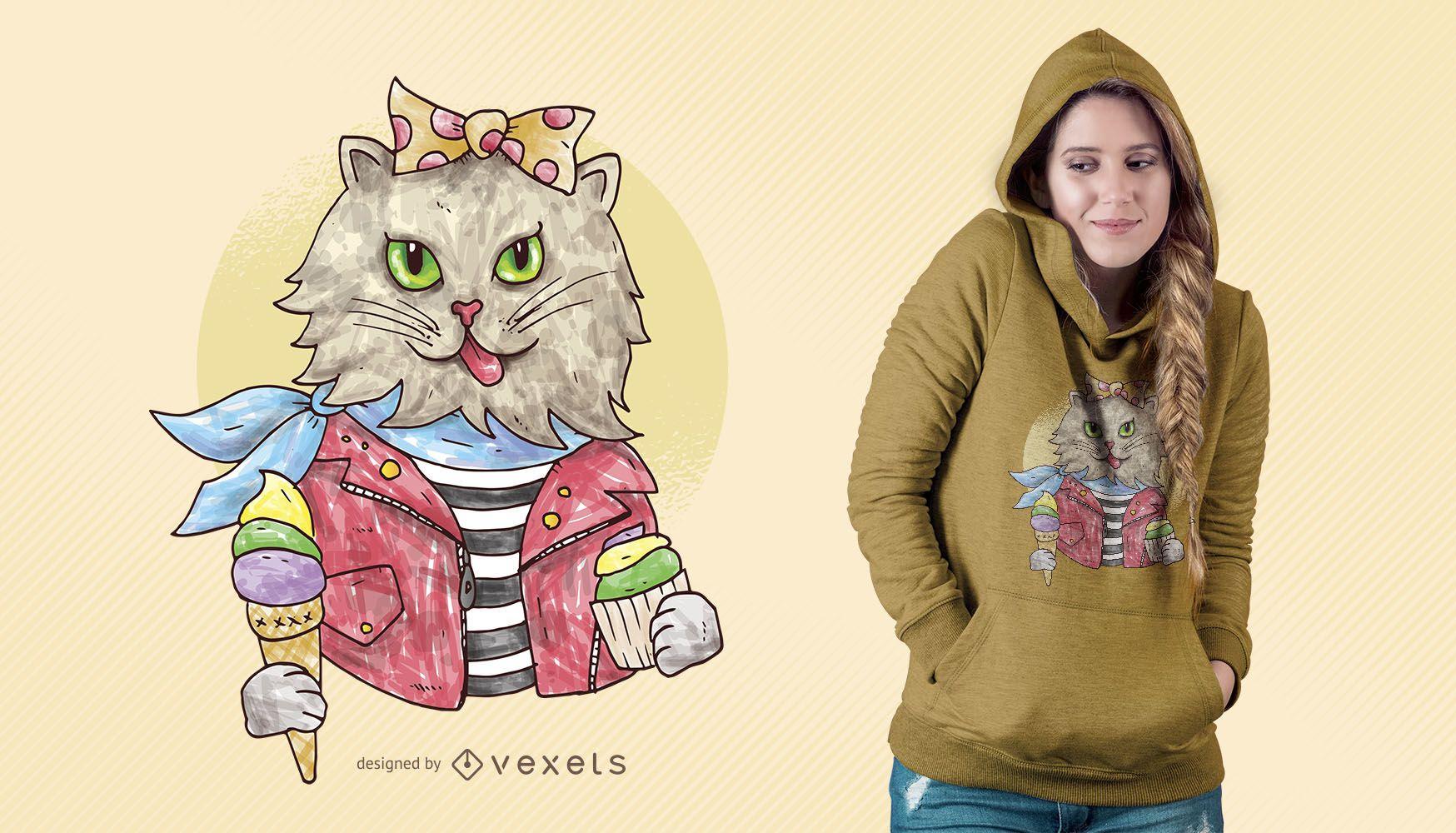 Diseño de camiseta de acuarela Rockabilly Cat
