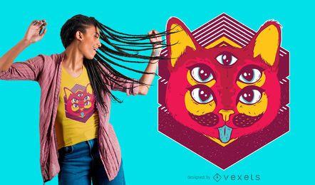 Diseño de camiseta de gato psicodélico