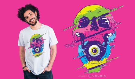 Projeto psicadélico do t-shirt do crânio