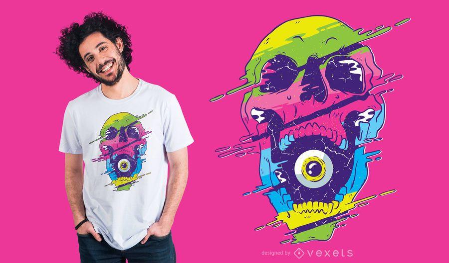 Diseño de camiseta de cráneo psicodélico