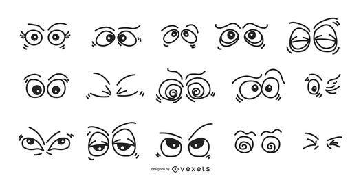 Conjunto de expressões de olhos dos desenhos animados