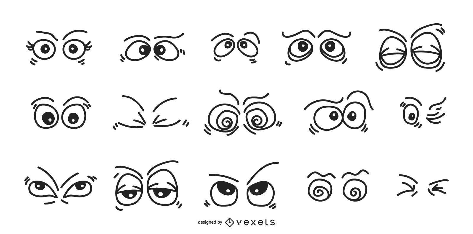 Conjunto de expresiones de ojos de dibujos animados