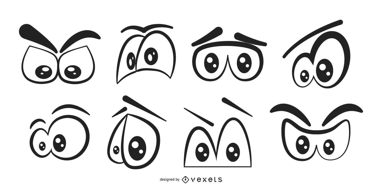 Conjunto de olhos de desenho em preto e branco