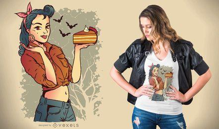 Design de t-shirt de torta de abóbora de menina Pin-up