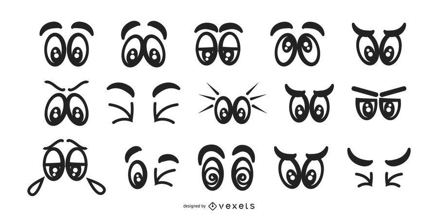 Mutige Augen-Karikatur-Satz