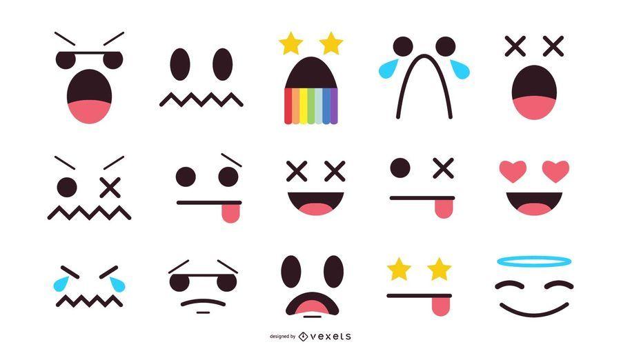 Conjunto de emoticonos de caras