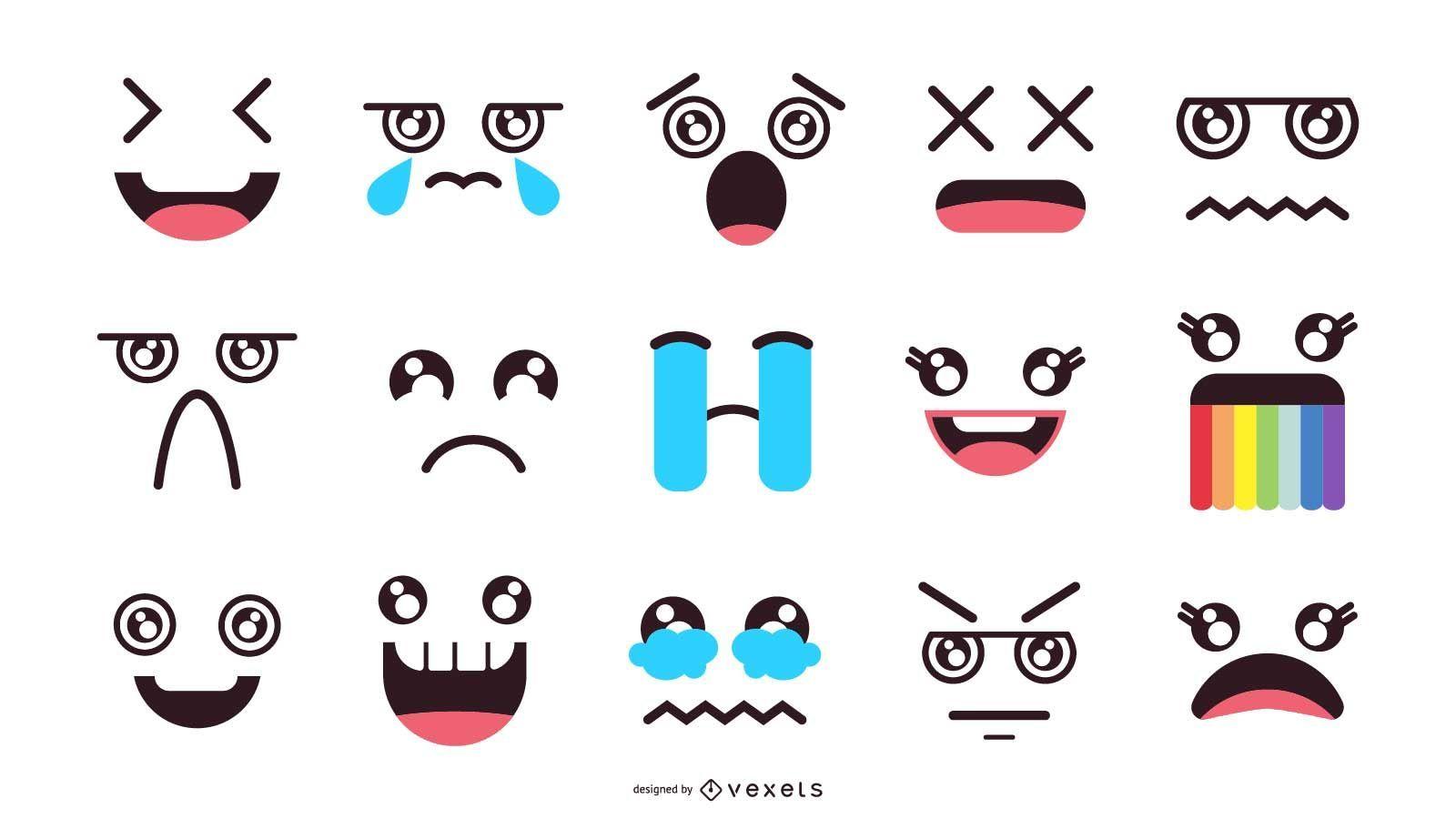 Conjunto de expresión de emoji kawaii