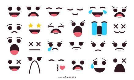 Coleção de emoticons de rostos