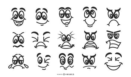 Conjunto de Emoticons de rostos preto e branco