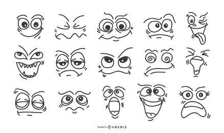 Conjunto de emoticonos de caras dibujadas a mano