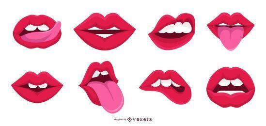 Colección de vectores de boca