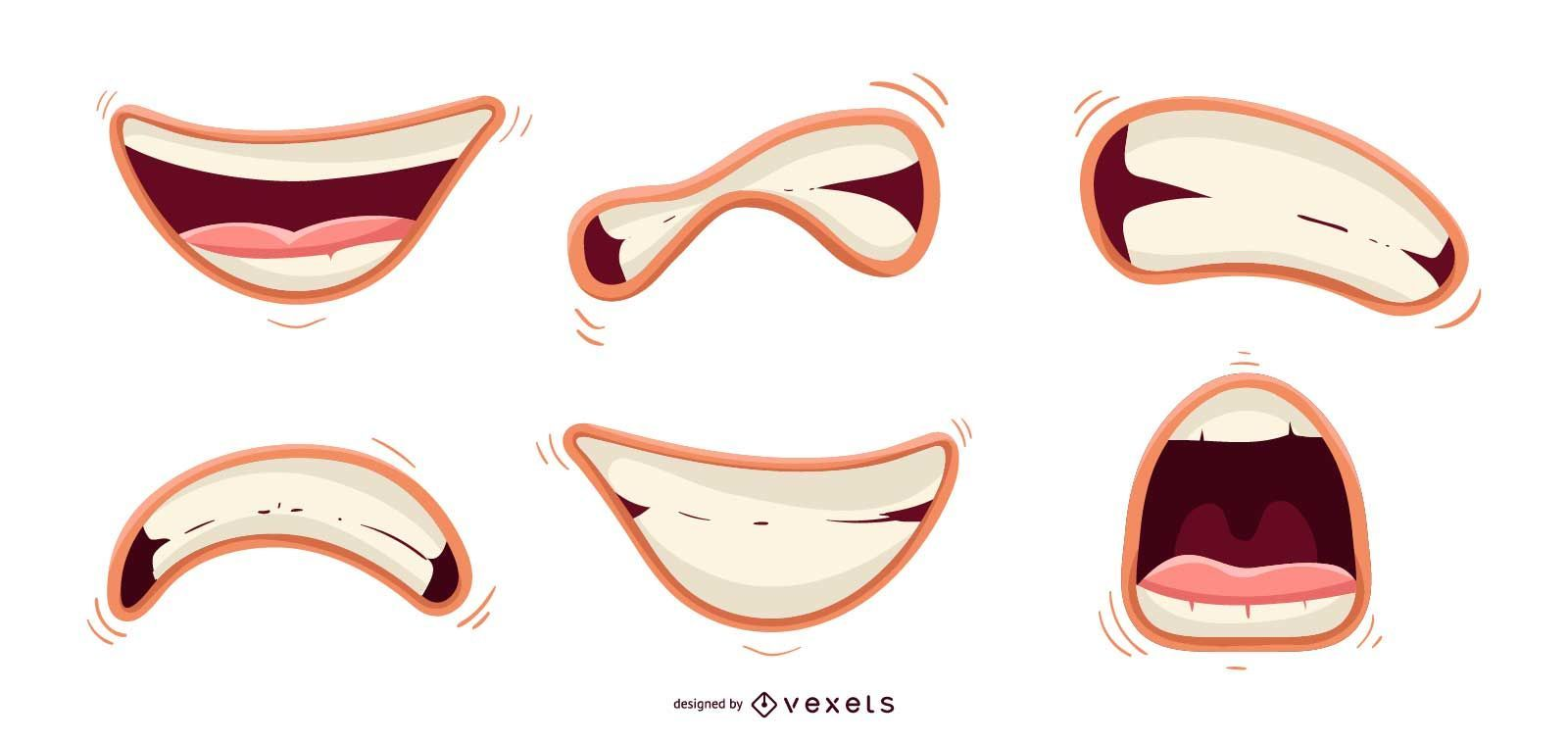 Conjunto de vetores de boca fofa