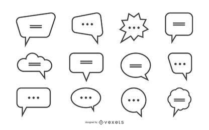 Coleção de balões de fala simples