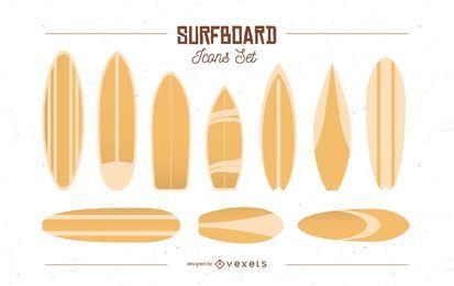 Conjunto de ícones de prancha de surf