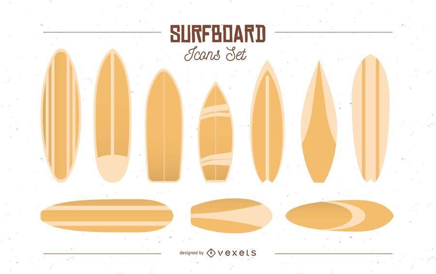 Conjunto de iconos de tabla de surf