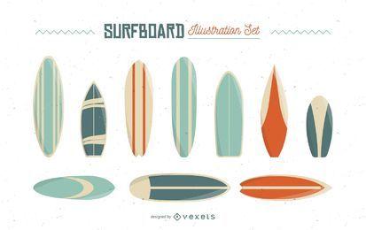 Conjunto de ilustración de tabla de surf