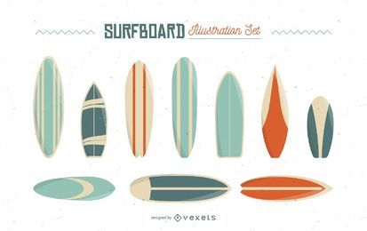 Surfbrett-Illustrationssatz