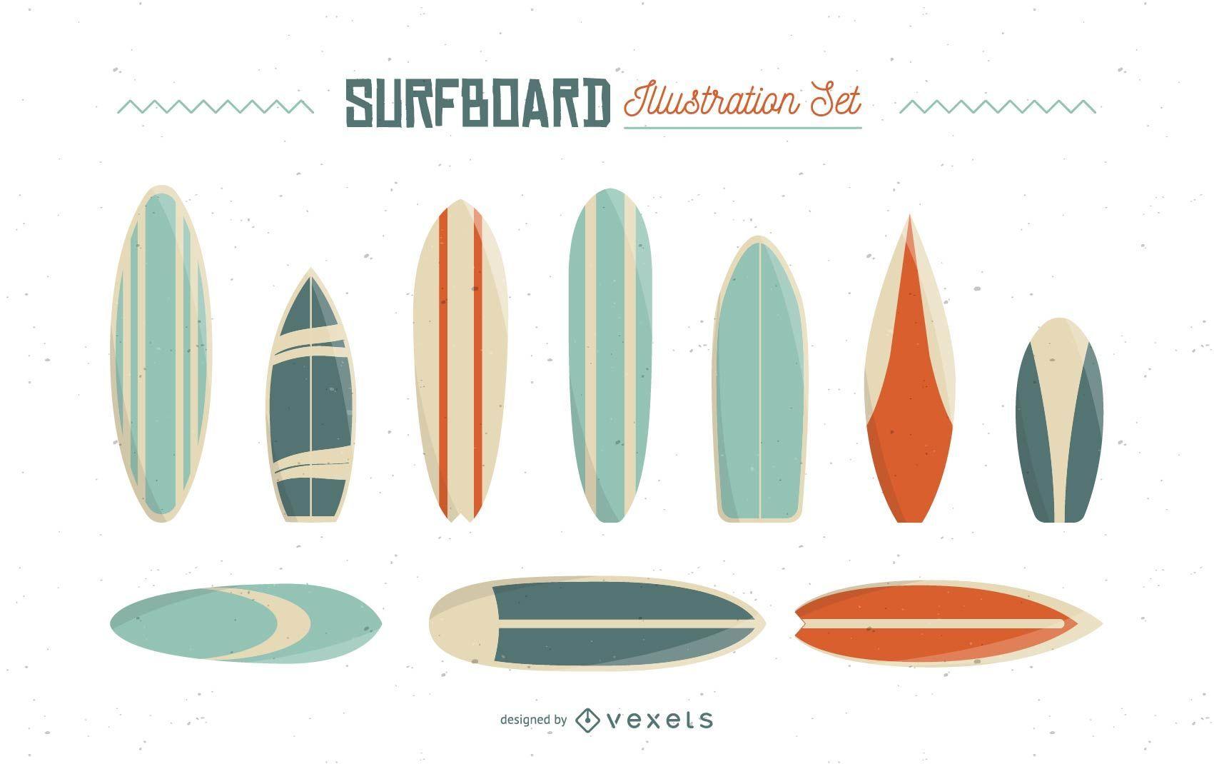 Surfboard Illustration Set