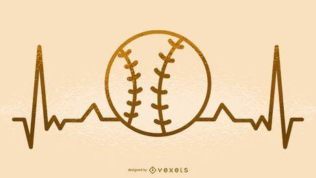 Ilustração de batimento cardíaco de beisebol