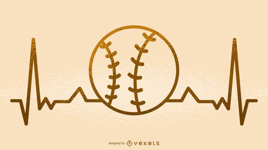 Baseball heartbeat illustration
