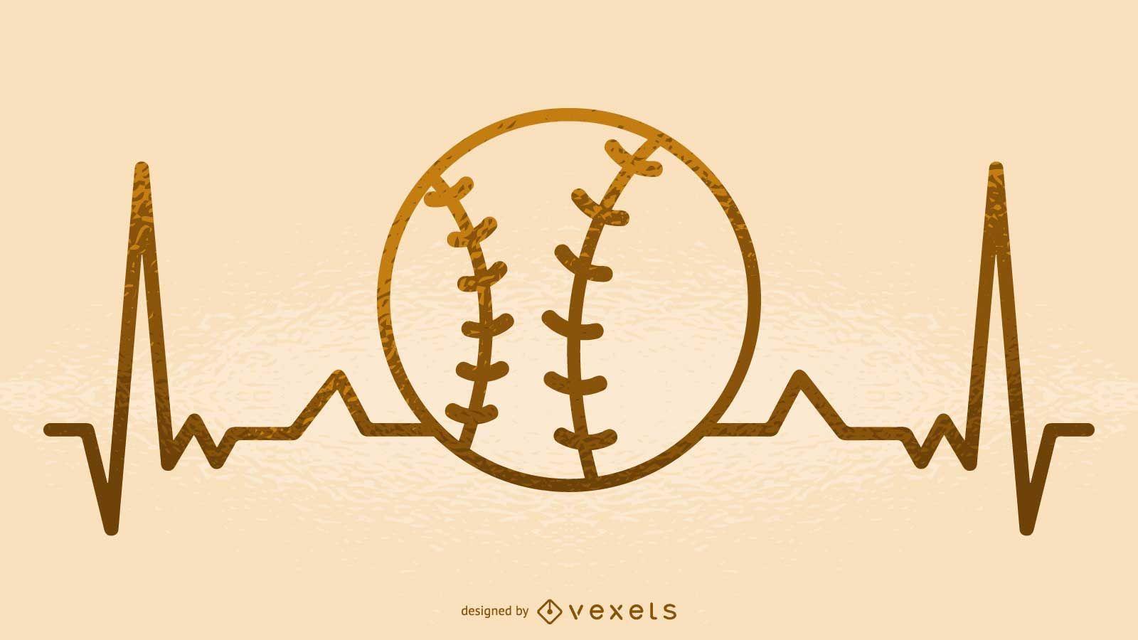Baseball heartbeat illustration