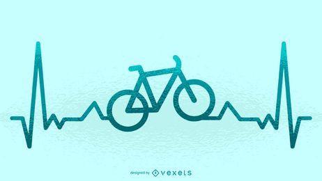 Ilustración del latido del corazón en bicicleta