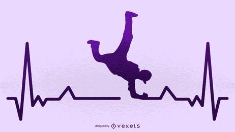 Break dancer heartbeat silhouette