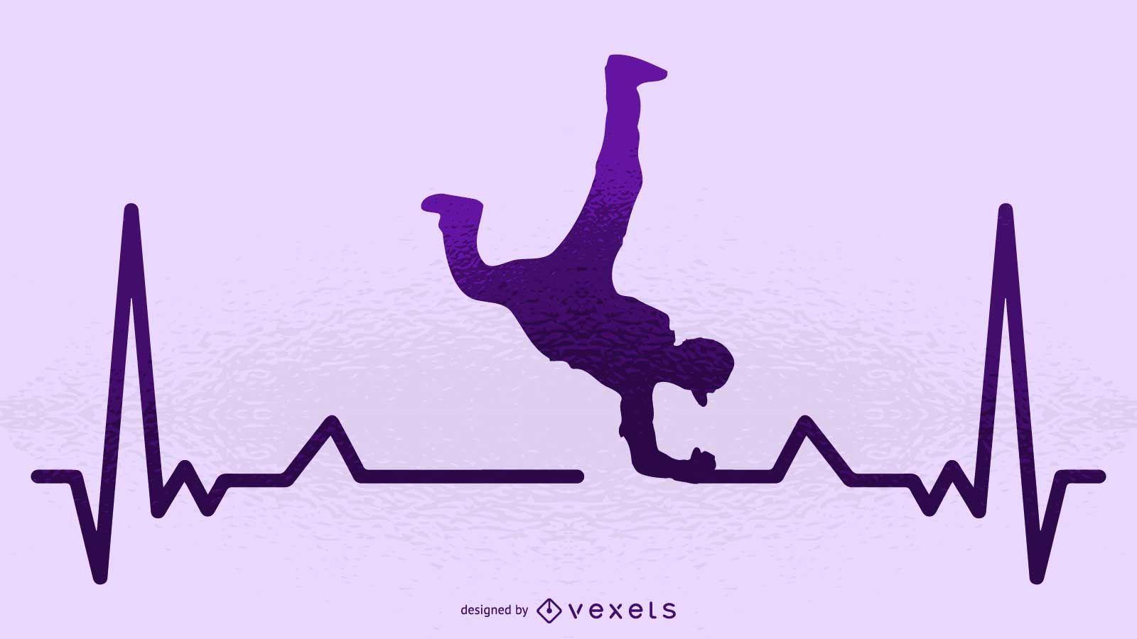 Break dancer heartbeat silhouette