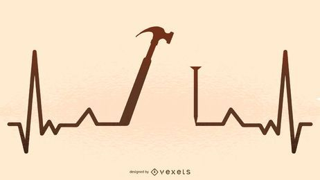 Hammer heartbeat illustration silhouette