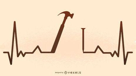 Silueta de ilustración de latido del corazón del martillo