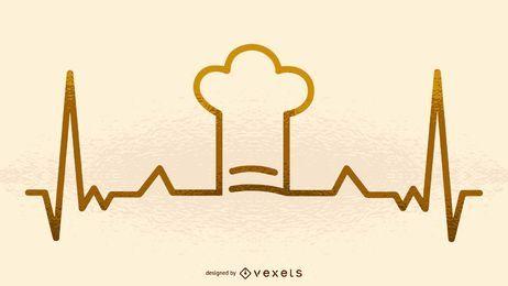 Ilustración de latido del corazón de sombrero de chef