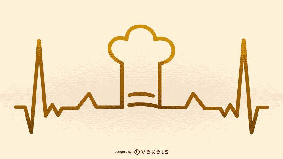 Chef hat heartbeat illustration