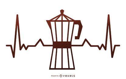 Cafetera ilustración de latidos del corazón
