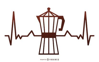 Coffee maker heartbeat illustration
