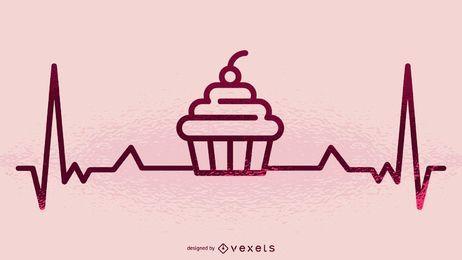 Ilustración de cupcake y latidos del corazón