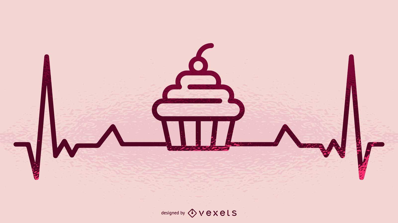 Cupcake and heartbeat illustration