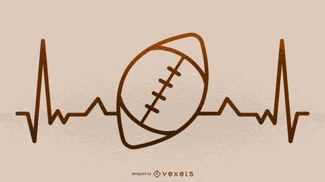 Football heartbeat illustration