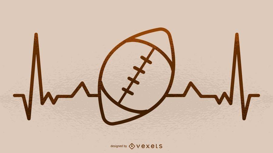 Ilustração de batimento cardíaco de futebol