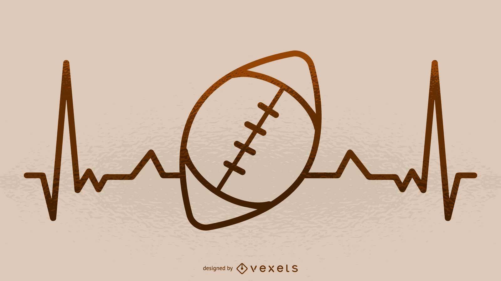 Football heartbeat illustration